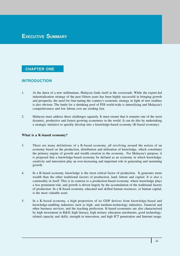 Executive SummaryEXECUTIVE SUMMARY     CHAPTER ONEINTRODUCTION1.     At the dawn of a new millennium, Malaysia finds itsel...