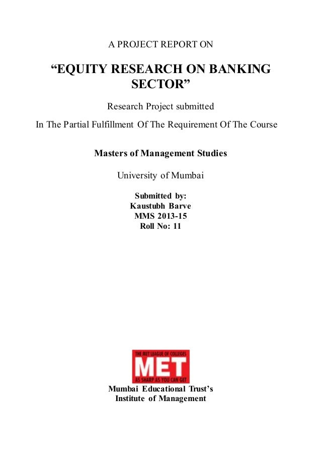 Equity Research Report On Banking Sector - A Project Report