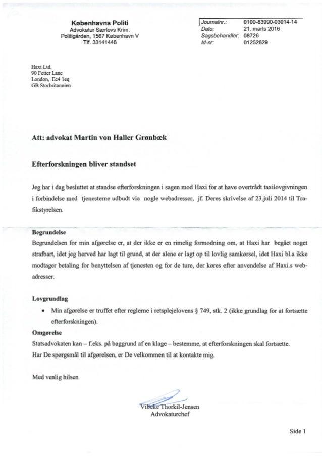Københavns Politi: Haxi efterforskning standses