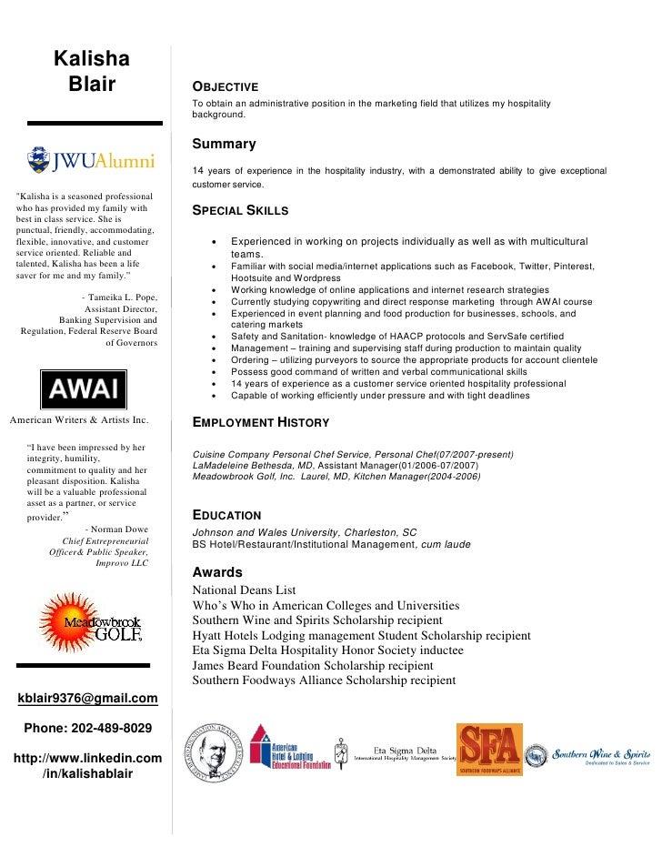 k blair marketing resume