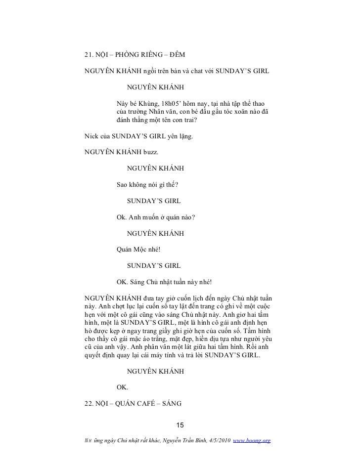 21. NỘI – PHÒNG RIÊNG – ĐÊMNGUYÊN KHÁNH ngồi trên bàn và chat với SUNDAY'S GIRL                NGUYÊN KHÁNH            Này...