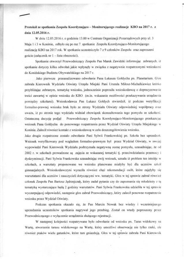 Prrotokół z posiedzenia Zespołu ds. KBO 12.05.2016