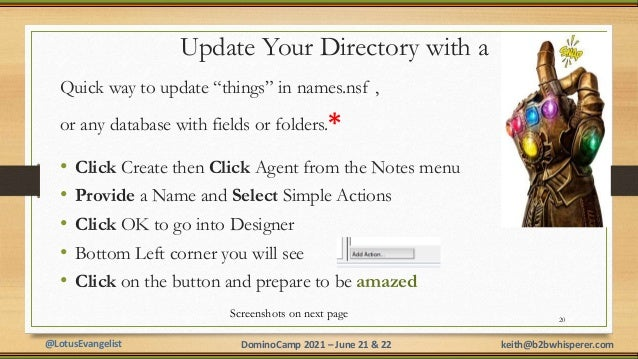 """@LotusEvangelist keith@b2bwhisperer.com DominoCamp 2021 – June 21 & 22 Update Your Directory with a Quick way to update """"t..."""