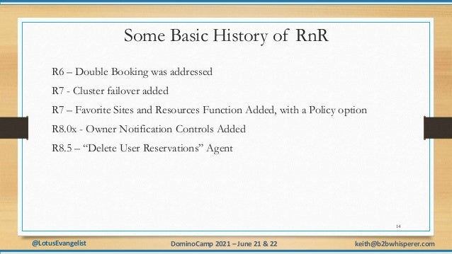@LotusEvangelist keith@b2bwhisperer.com DominoCamp 2021 – June 21 & 22 Some Basic History of RnR R6 – Double Booking was a...