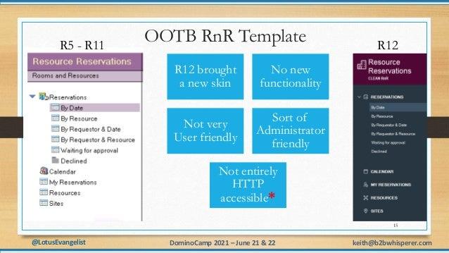 @LotusEvangelist keith@b2bwhisperer.com DominoCamp 2021 – June 21 & 22 OOTB RnR Template R12 brought a new skin No new fun...