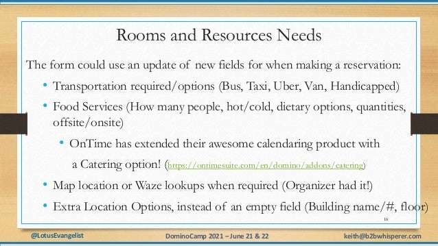 @LotusEvangelist keith@b2bwhisperer.com DominoCamp 2021 – June 21 & 22 Rooms and Resources Needs The form could use an upd...