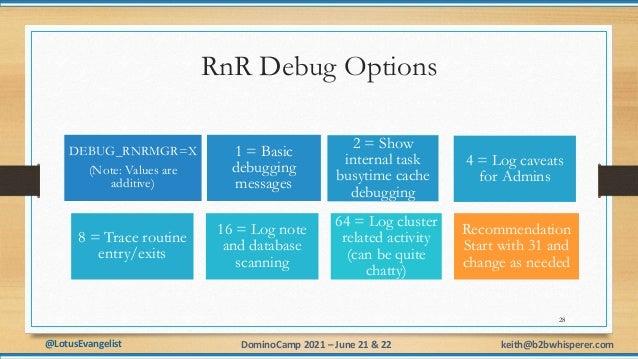 @LotusEvangelist keith@b2bwhisperer.com DominoCamp 2021 – June 21 & 22 RnR Debug Options 28 DEBUG_RNRMGR=X (Note: Values a...