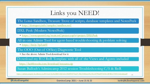 @LotusEvangelist keith@b2bwhisperer.com DominoCamp 2021 – June 21 & 22 Links you NEED! 34 The Lotus Sandbox, Treasure Trov...