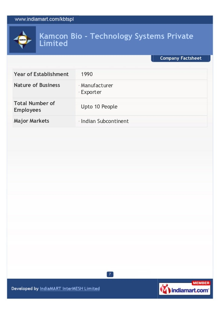 Kamcon Bio - Technology Systems Private         Limited                                              Company FactsheetYear...