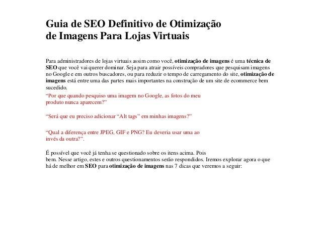 Guia de SEO Definitivo de Otimização  de Imagens Para Lojas Virtuais  Para administradores de lojas virtuais assim como vo...