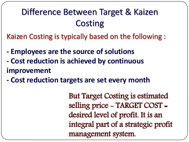 kaizen costing Managing cost of production is at the heart of survival of present day corporations , as increased competition, uncertainty and risk present in the operating.