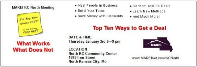 NEW Monthly Meeting  Kansas City North Real Estate Professionals - January 3rd 2012