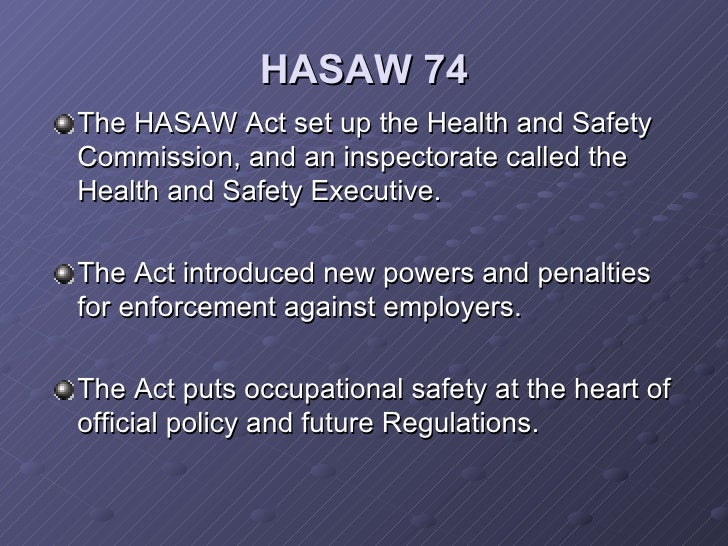 essay on health and safety at work act The health and safety at work act 1974 provides the legal framework to promote, stimulate and encourage high standards of health and safety in places of work.