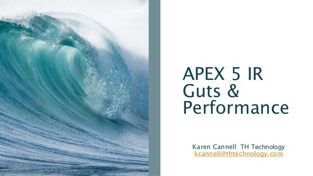 APEX 5 IR Guts & Performance Karen Cannell TH Technology kcannell@thtechnology.com