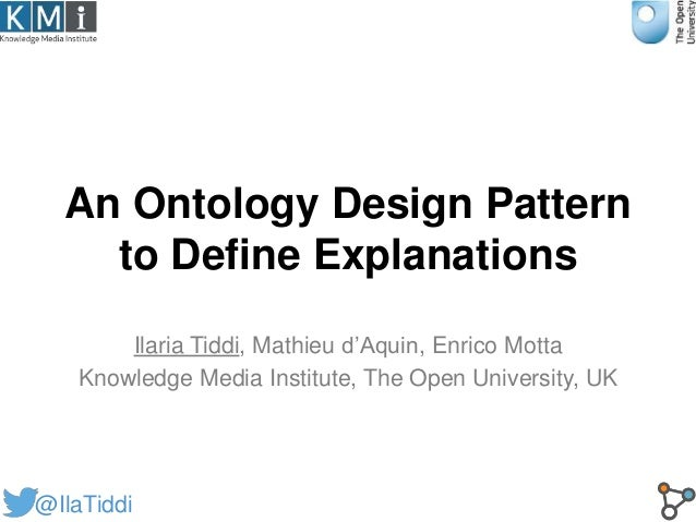 An Ontology Design Pattern to Define Explanations Ilaria Tiddi, Mathieu d'Aquin, Enrico Motta Knowledge Media Institute, T...