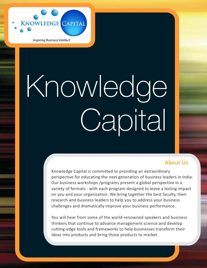 Knowledge   Capital                                                             About Us Knowledge Capital is committed to...