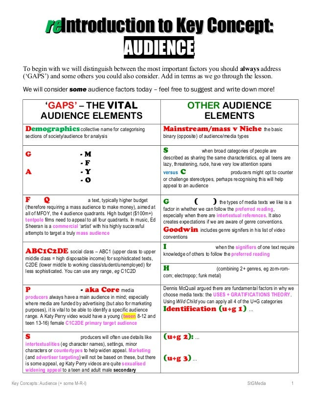 rereIntroduction to Key Concept:Introduction to Key Concept: AUDIENCEAUDIENCE To begin with we will distinguish between th...