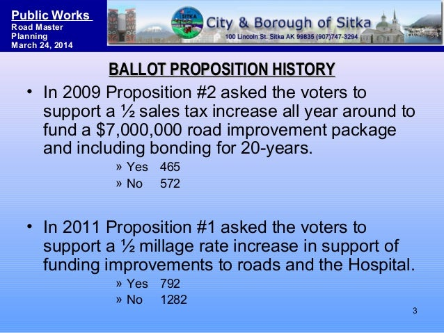 Sitka Road System Master Planning & Funding Strategies Slide 3