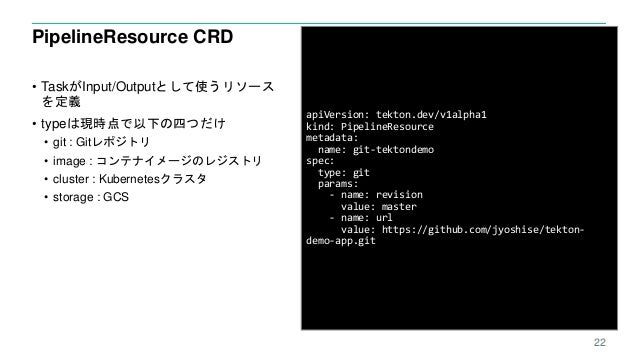 PipelineResource CRD • TaskがInput/Outputとして使うリソース を定義 • typeは現時点で以下の四つだけ • git : Gitレポジトリ • image : コンテナイメージのレジストリ • clust...