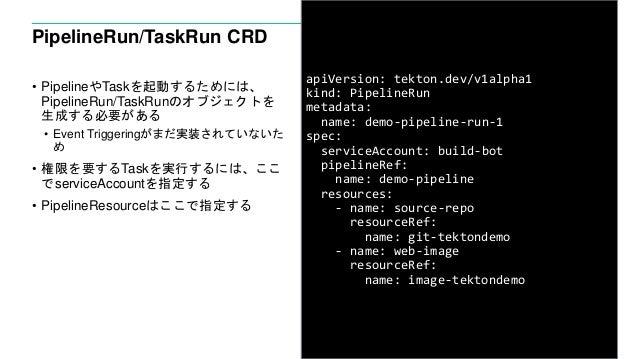 PipelineRun/TaskRun CRD • PipelineやTaskを起動するためには、 PipelineRun/TaskRunのオブジェクトを 生成する必要がある • Event Triggeringがまだ実装されていないた め •...
