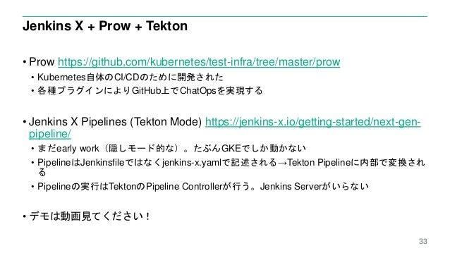 Jenkins X + Prow + Tekton • Prow https://github.com/kubernetes/test-infra/tree/master/prow • Kubernetes自体のCI/CDのために開発された •...