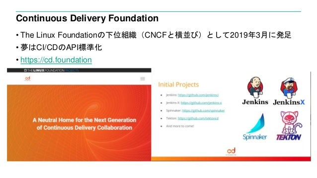 Continuous Delivery Foundation • The Linux Foundationの下位組織(CNCFと横並び)として2019年3月に発足 • 夢はCI/CDのAPI標準化 • https://cd.foundation