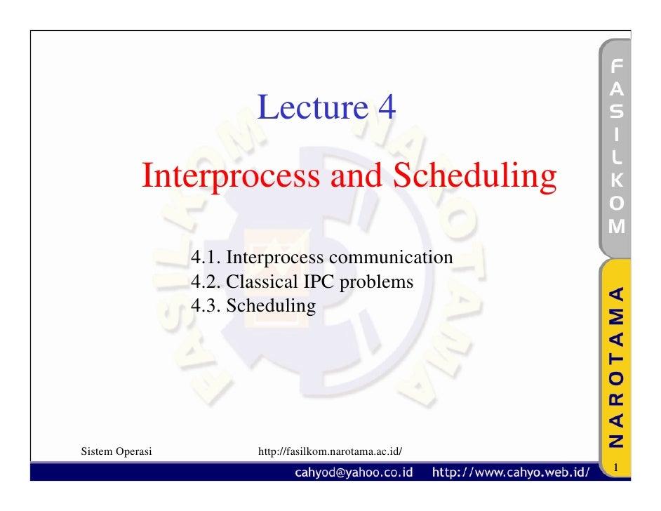 Lecture 4            Interprocess and Scheduling                   4.1. Interprocess communication                  4.2. C...
