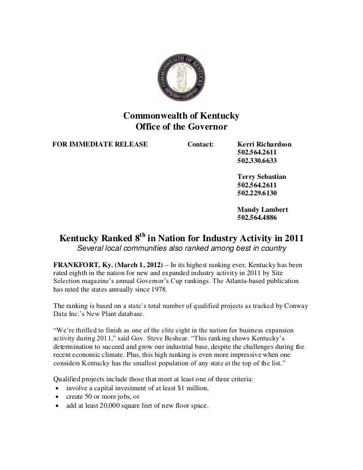 Commonwealth of Kentucky                           Office of the GovernorFOR IMMEDIATE RELEASE                            ...