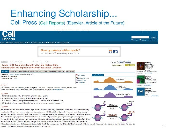 Enhancing Scholarship...Cell Press (Cell Reports) (Elsevier, Article of the Future)                                       ...