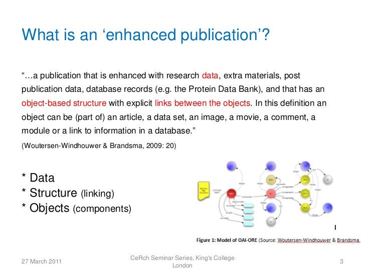 """What is an 'enhanced publication'?""""…a publication that is enhanced with research data, extra materials, postpublication da..."""