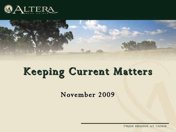 Keeping Current Matters November 2009