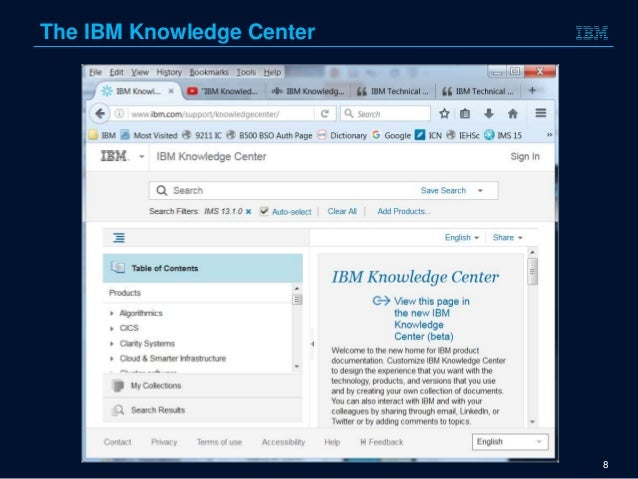 IMS documentation and the Knowledge Center