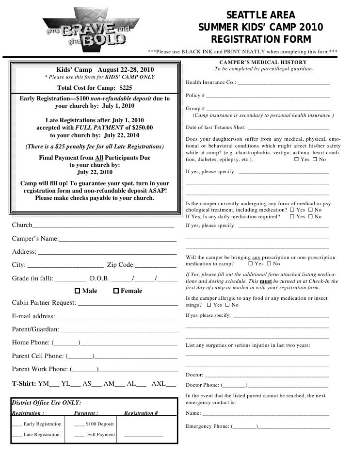 Summer Day Camp Registration Form Template Wwwpicswecom