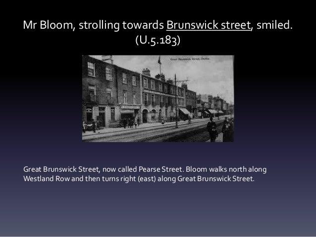 Mr Bloom, strolling towards Brunswick street, smiled. (U.5.183) Great Brunswick Street, now called Pearse Street. Bloom wa...