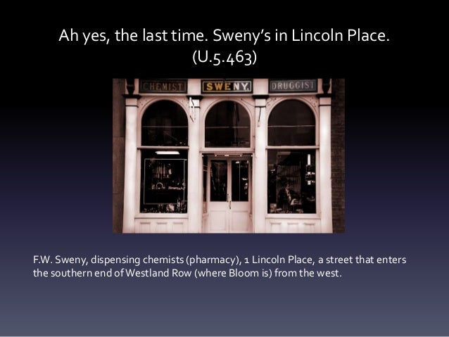 Ah yes, the last time. Sweny's in Lincoln Place. (U.5.463) F.W. Sweny, dispensing chemists (pharmacy), 1 Lincoln Place, a ...