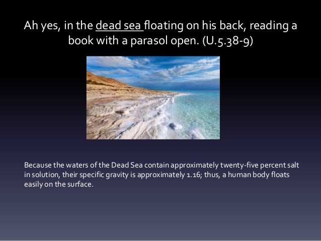 Ah yes, in the dead sea floating on his back, reading a book with a parasol open. (U.5.38-9) Because the waters of the Dea...