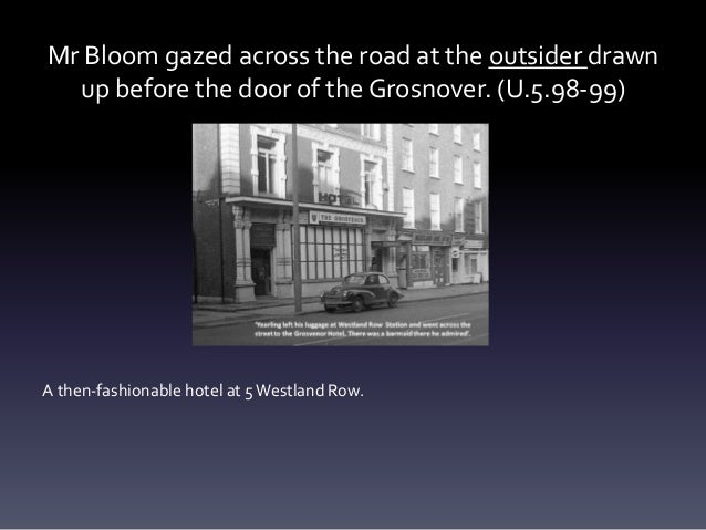 Mr Bloom gazed across the road at the outsider drawn up before the door of the Grosnover. (U.5.98-99) A then-fashionable h...