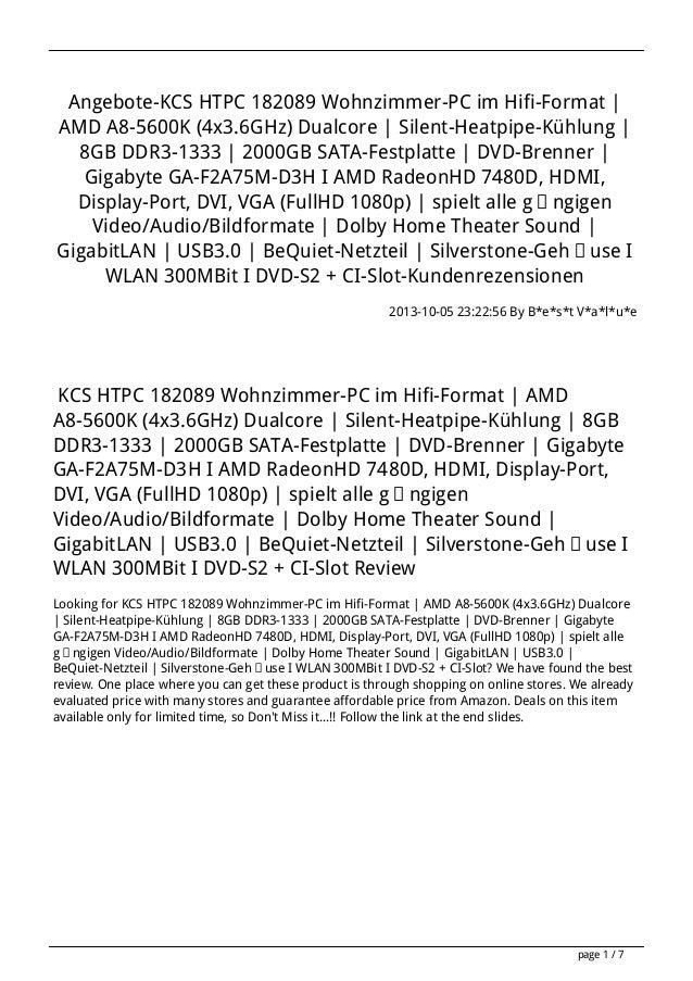 Angebote-KCS HTPC 182089 Wohnzimmer-PC im Hifi-Format | AMD A8-5600K (4x3.6GHz) Dualcore | Silent-Heatpipe-Kühlung | 8GB D...