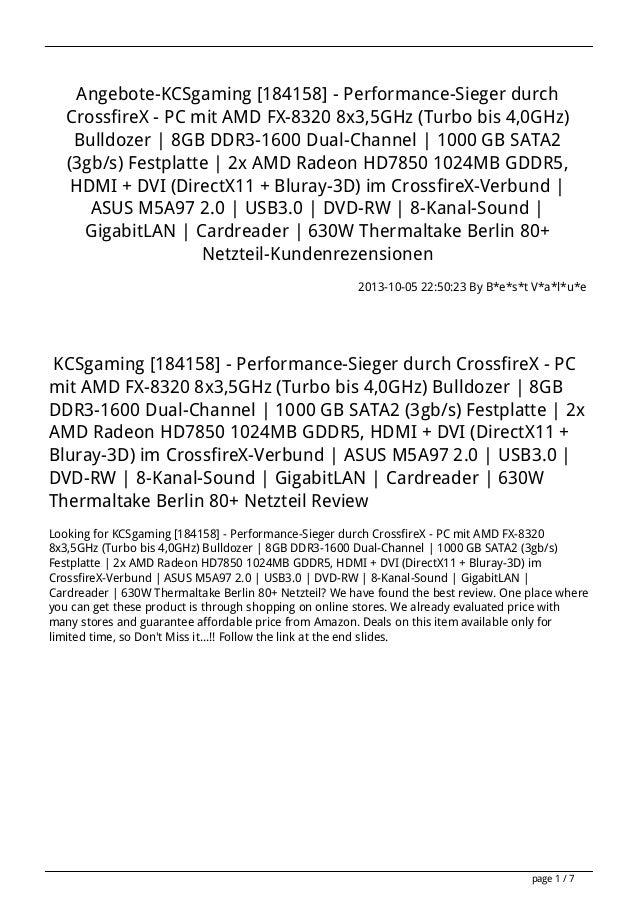 Angebote-KCSgaming [184158] - Performance-Sieger durch CrossfireX - PC mit AMD FX-8320 8x3,5GHz (Turbo bis 4,0GHz) Bulldoz...