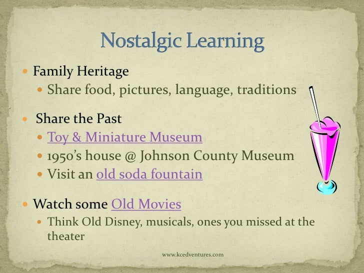  Family Heritage     Share food, pictures, language, traditions   Share the Past     Toy & Miniature Museum     1950'...
