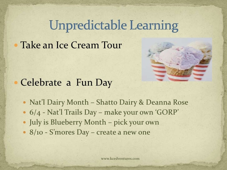  Take an Ice Cream Tour Celebrate a Fun Day   Nat'l Dairy Month – Shatto Dairy & Deanna Rose   6/4 - Nat'l Trails Day ...
