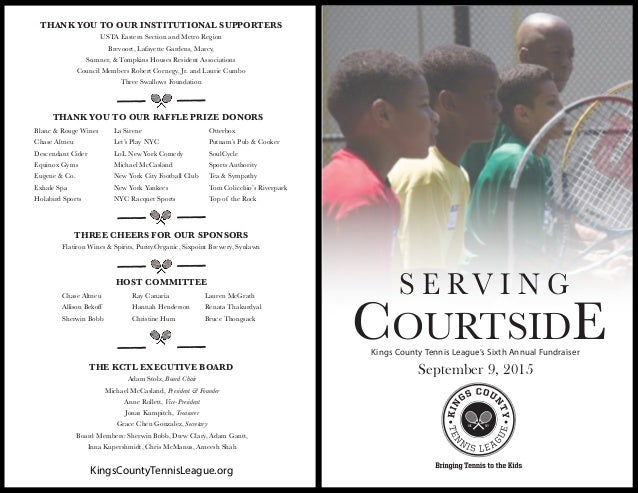 Serving Courtside Kctl Sixth Annual Fundraiser Event Program