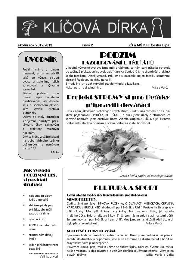 školní rok 2012/2013                          číslo 2                              ZŠ a MŠ Klíč Česká Lípa       ÚVODNÍK  ...