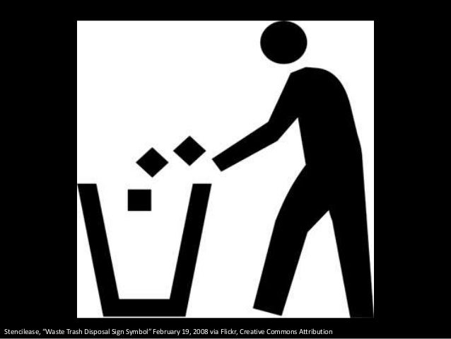 """Stencilease, """"Waste Trash Disposal Sign Symbol"""" February 19, 2008 via Flickr, Creative Commons Attribution"""