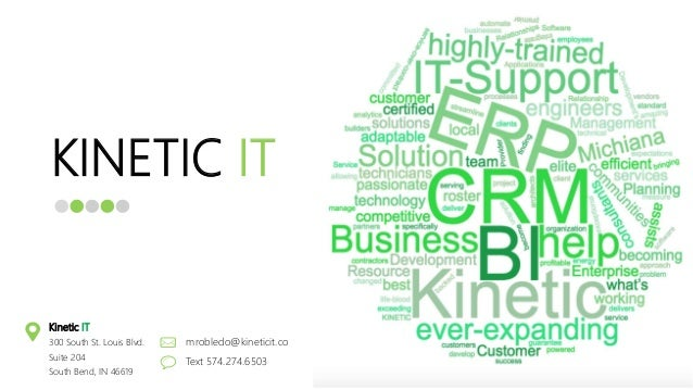 KINETIC IT mrobledo@kineticit.co Text 574.274.6503 Kinetic IT 300 South St. Louis Blvd. Suite 204 South Bend, IN 46619