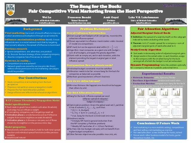 The Bang for the Buck: Fair Competitive Viral Marketing from the Host Perspective Wei Lu Francesco Bonchi Amit Goyal Laks ...