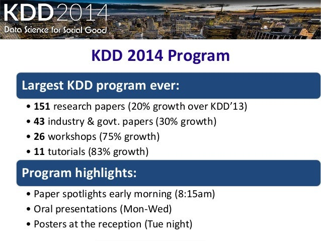 Data Science view of the KDD 2014 Slide 3