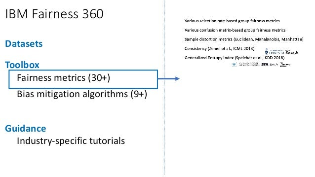 IBM Fairness 360 Datasets Toolbox Fairness metrics (30+) Bias mitigation algorithms (9+) Guidance Industry-specific tutori...