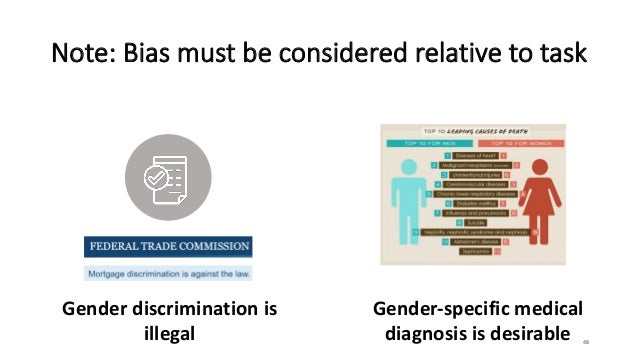 Note: Bias must be considered relative to task 48 Gender discrimination is illegal Gender-specific medical diagnosis is de...