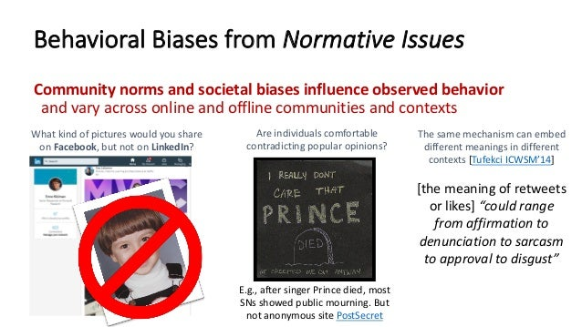 Behavioral Biases from Normative Issues Community norms and societal biases influence observed behavior and vary across on...
